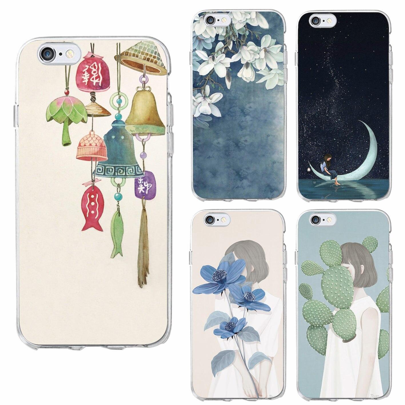 Corea del arte dibujo carillón campanas de viento moon star silencio chica flora