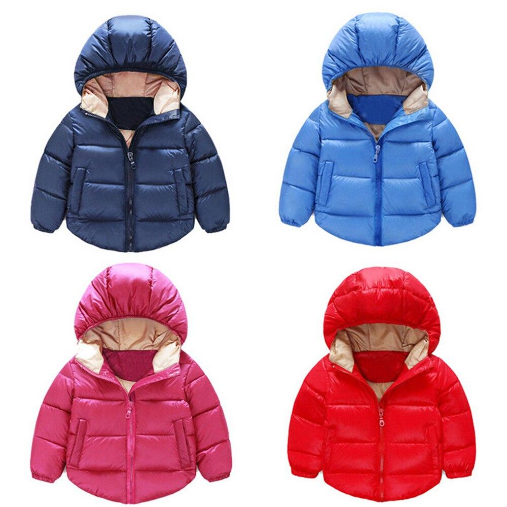 2016 Kış Yeni Boys & Girls Sıcak Down Ceketler çocuk Kapşonlu Kabanlar Bebek Çocuk Yastıklı Ceket Aşağı Pamuk Çocuklar Boys Parka 12 M-6 T