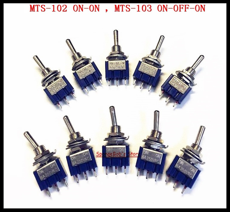 5 x Mini 6A 125VAC SPDT MTS-102 3-Pin 2 Position On-on Toggle Switches Practic M