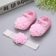 Baptism Baby Girl Sapato beby Menina Rosset shoes 2pcs Set Rhinestone Flowers Headband Barefoot Spring Infant baby girl shoes