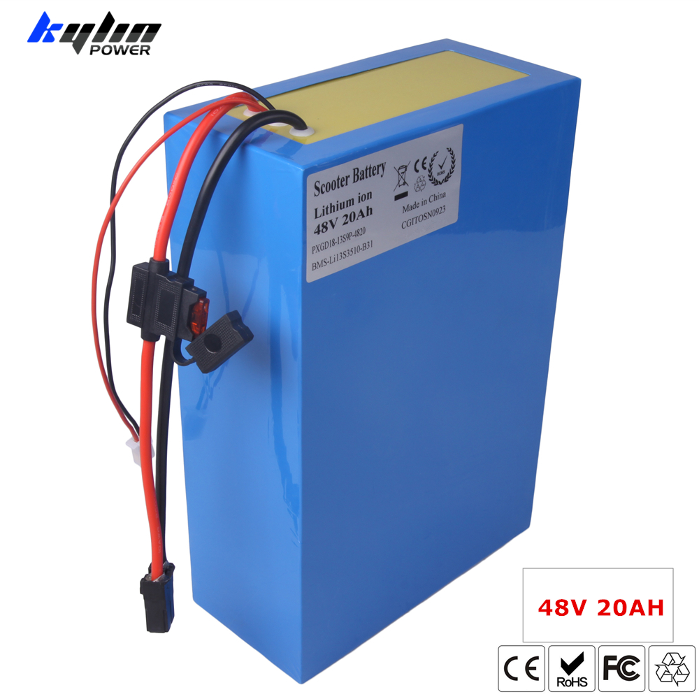 48V 20AH Lithium Electric Scooter Bike Battery for Li-ion Ebike 750W 1000W E Bicycle Motor & 30A BMS 54.6V 2A Charger with fuse 48v lithium ion battery silver fish case electric bike battery 48v 10ah ebike li ion battery with 2a charger