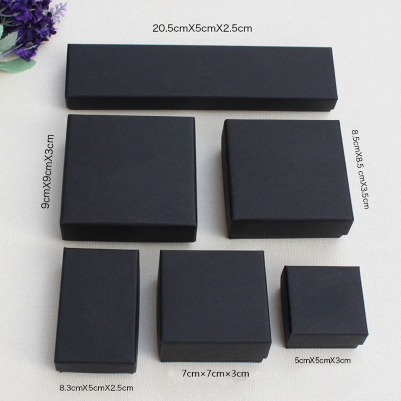 New 1pcs  Jewelry Package Different Size  Black Kraft Paper Box For Earring/ring /bracelet/necklace Set Jewelry Nice Box A1