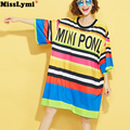 [MissLymi] Fit 4XL 5XL 6XL Plus Size Women Stripe Dress 2017 Spring Autumn Loose Harajuku Letter Printing Long T-shirt Dress Bts