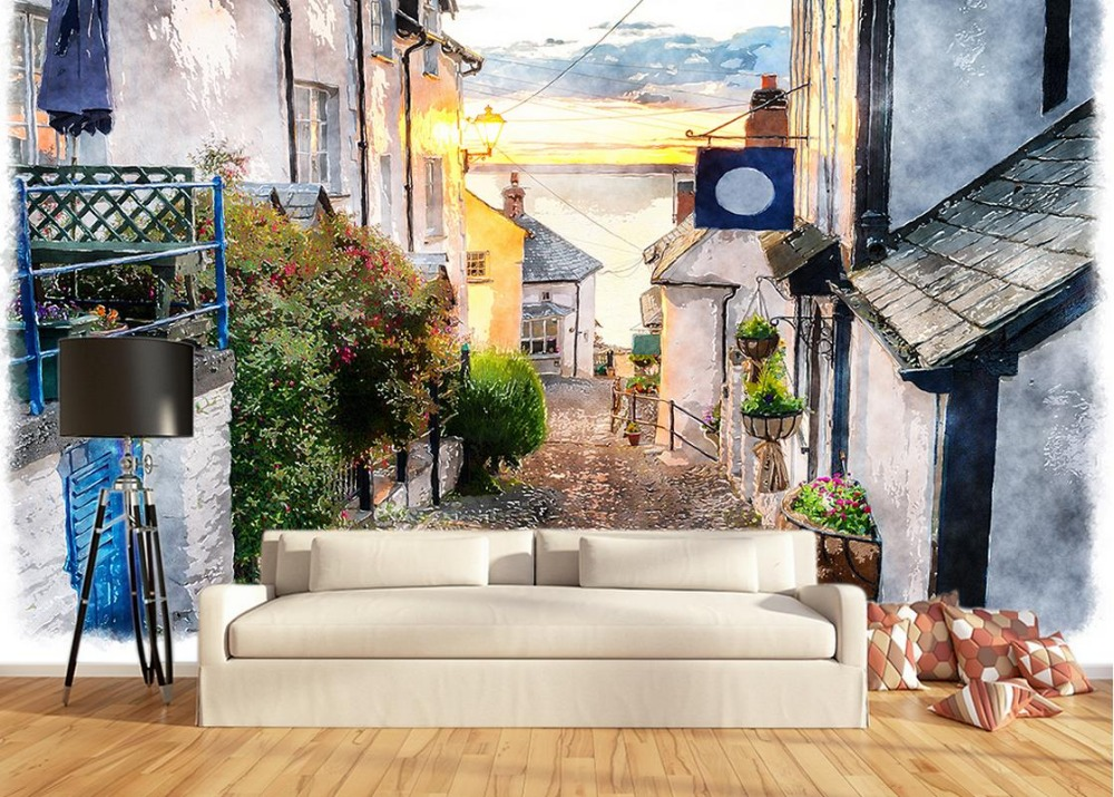 Classic painting wallpaper retro street house building for Classic mural wallpaper