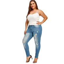 Plus Size Slim Fitted Ripped Jeans Female Casual Skinny Hole Pencil Denim Pants 5XL