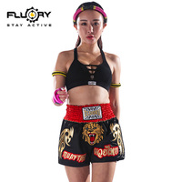 Fluory embroidery lion muay thai shorts men and women boxing pants mma trunks