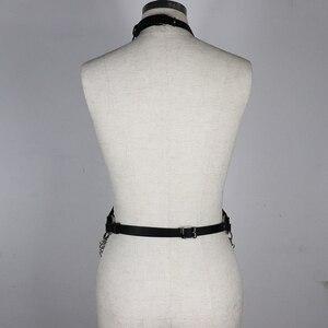 Image 5 - UYEE مثير Harajuku أحزمة النساء الهذيان سلسلة معدنية بولي Harness الجلود تسخير BDSM الوثن عبودية حزام السيدات الرباط عبودية LB 091