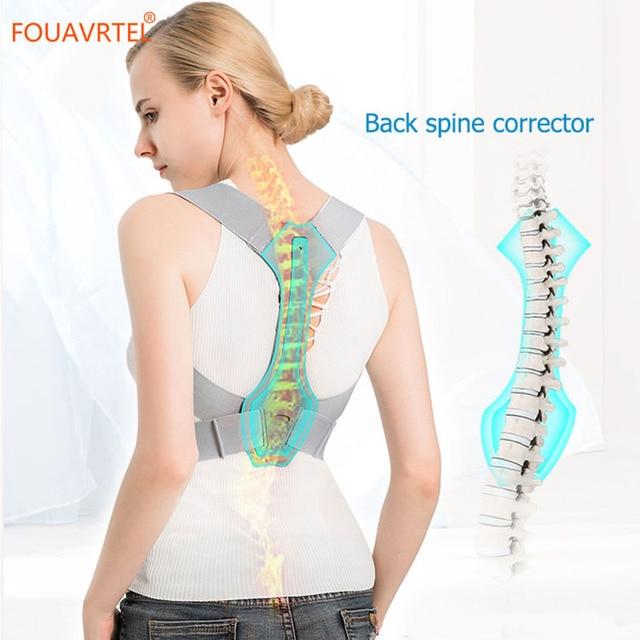 Fouavrtel 調整可能なバック姿勢コレクター鎖骨背骨バックショルダーサポートベルト疼痛緩和バック姿勢補正ユニセックス