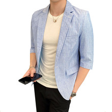 Spring summer new men's suit jacket thin style youth slim Half sleeve Blazers ma