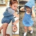 Hotsale verão do bebê meninas meninos legal denim azul romper criança macacão moda sunsuits com chapéus