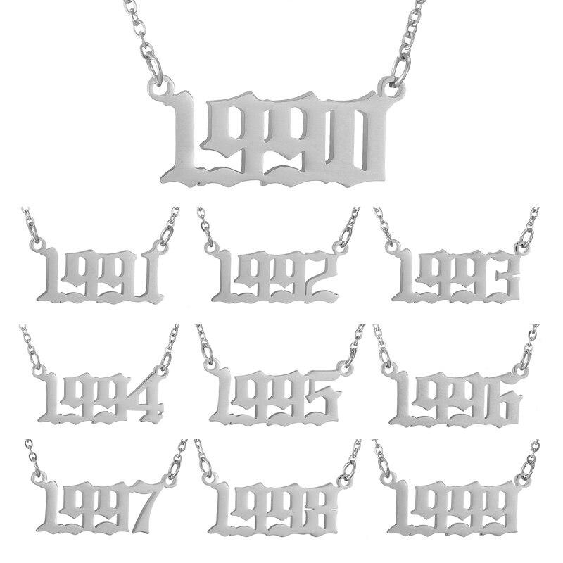 Заказное ожерелье с номером года для девочек, Женские Ювелирные изделия, серебряная цветная цепочка, 1996 1997 1998 1999, женские модные подвески, по...