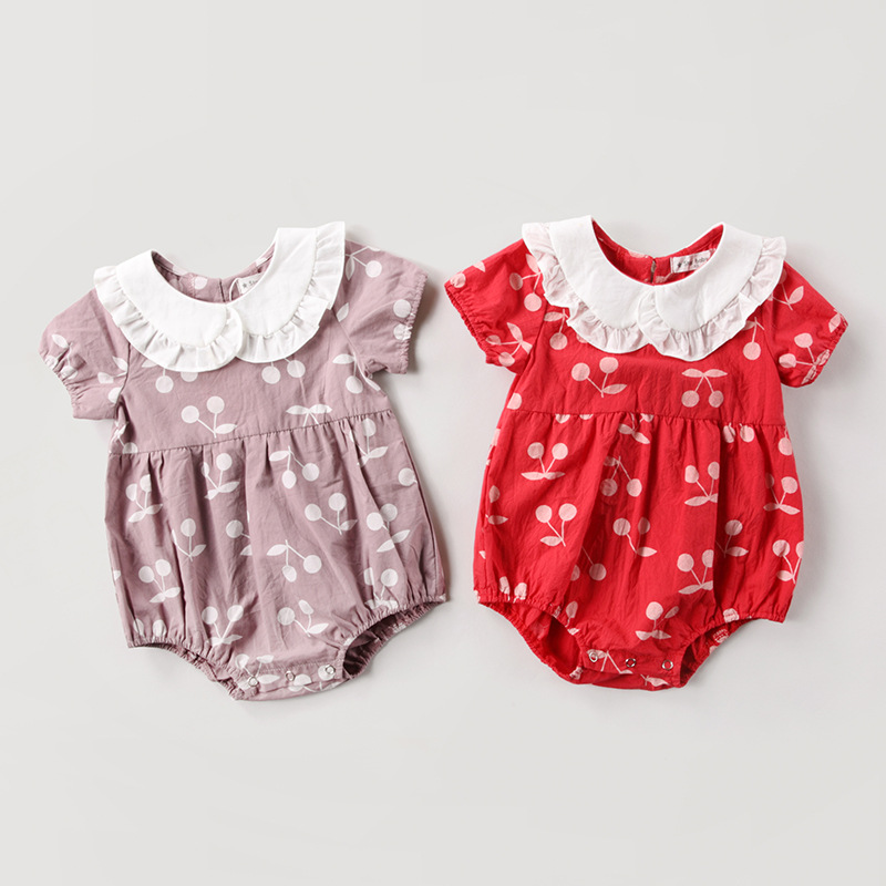 Baby Clothes 2018 Summer rompers Short Sleeves, Fashion, Baby cherry Prints Baby Girl Summer Clothes Cute red Romper