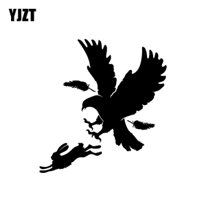 YJZT 17.2CM*18CM Fashion Predator Bird Feather Eagle Hare Rabbit Hunting Vinyl Car Sticker Decal Graphical C11-1034