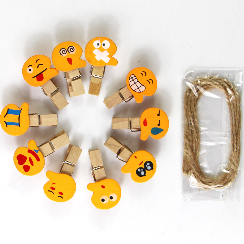 10PCS Cute Mini Colored Natural Wooden Clips Storage Bag Seal Picture Photo Paper Decorations Peg Pin Craft Clips Jute Twine
