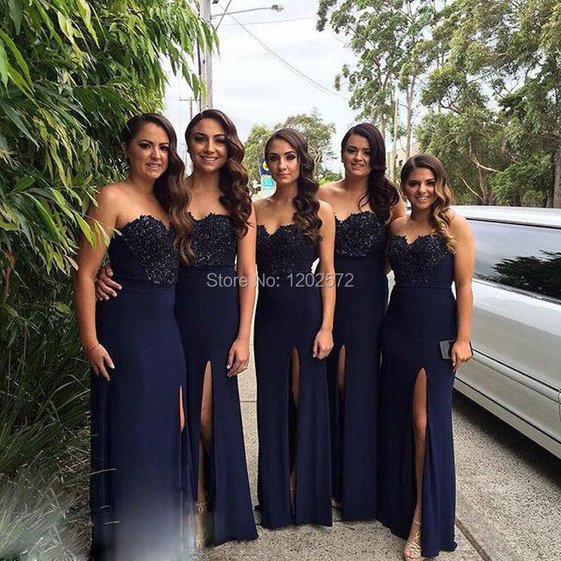 Oscuro azul marino vestido de dama del amor Appliques Trajes Para Baile  alta hendidura de encargo tamaño del banquete de boda vestidos Casamento en  de en ... e8b6cd3d91dd