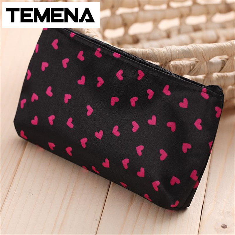 Temena  heart shaped Dots pattern Portable Cute Multifunction Beauty Travel Cosmetic Bag Makeup Case For Women ACB594