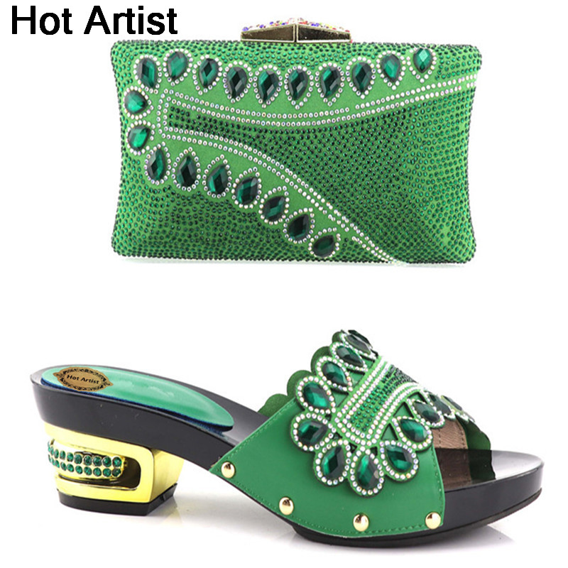 Hot Artist Hot Sale Italy Matching Green Shoes And Bag Set Fashion Shinning Woman High Heels Shoes And Bag Set For Party YH-09 цена