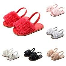 Однотонные мягкие сандалии из флока с блестками для маленьких девочек; тапочки; повседневная обувь