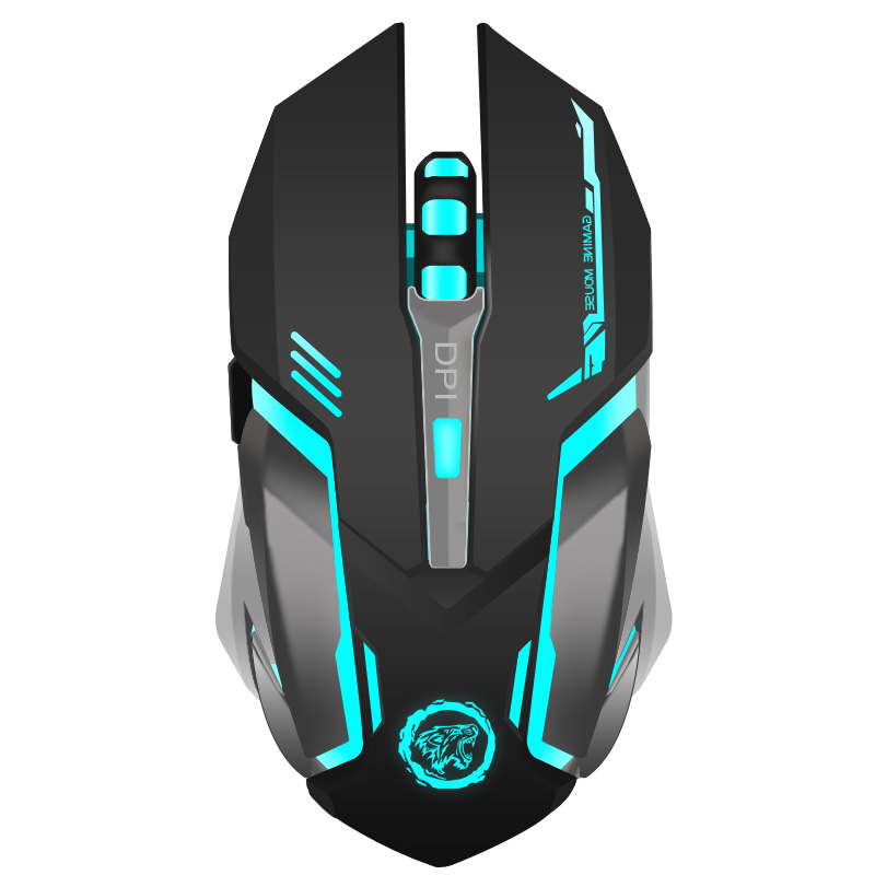 Genopladeligt Wireless Gaming Mouse 7-Color Backlight Breath Comfort Gamer Mus til Computer Desktop Notebook PC