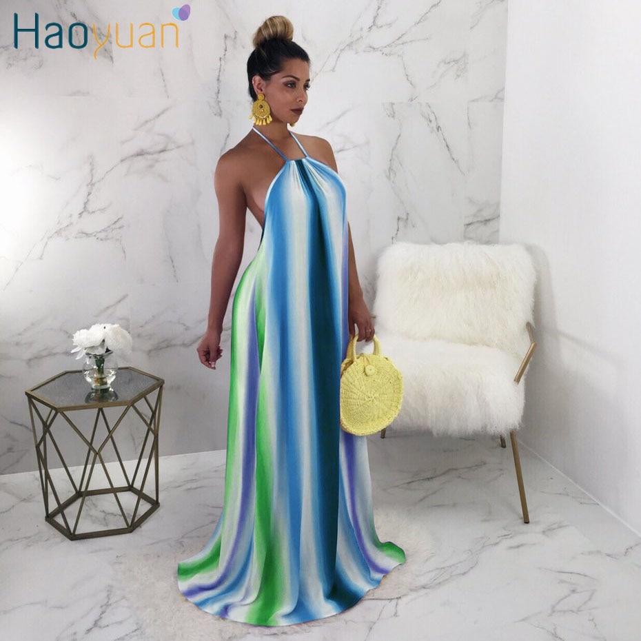 HAOYUAN Bohemian Long Maxi Dress Women Loose Rainbow Striped Halter Summer Beach Dresses Backless Off Shoulder Sexy Party Dress
