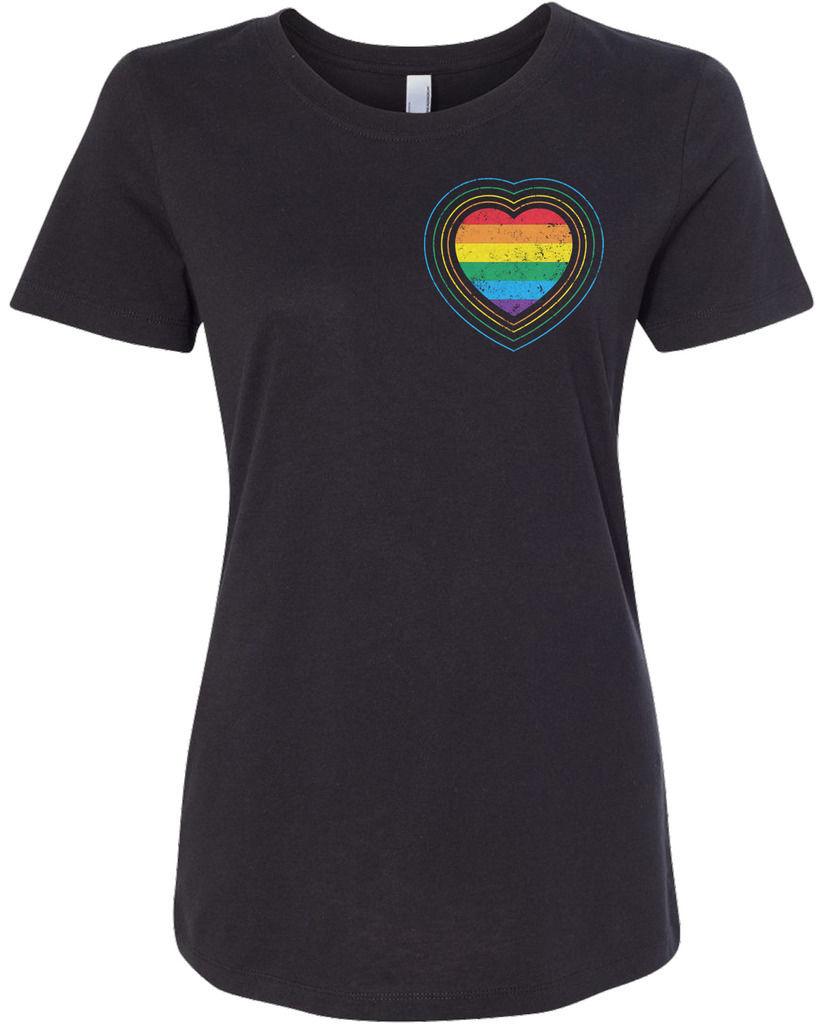 Slim Women s Gay Pride Rainbow Heart T shirt Lesbian LGBT Women Brand Tops Tee Harajuku