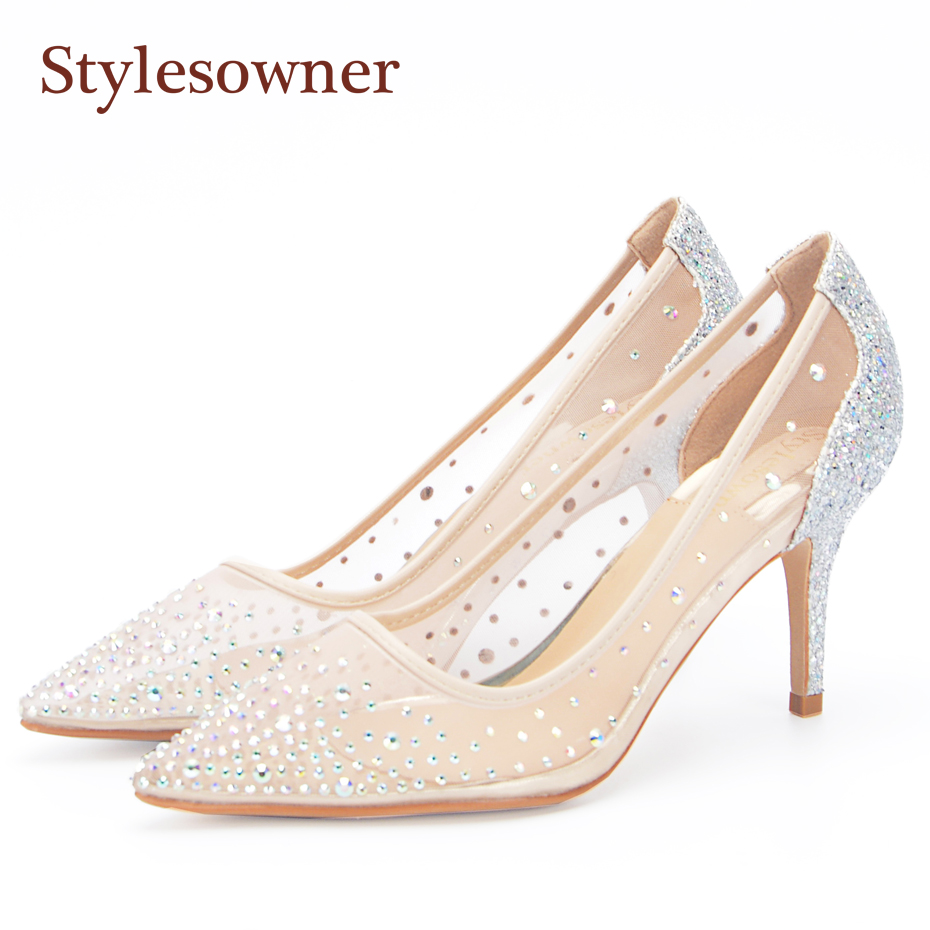 Stylesowner Size 35-40 Mesh Air Crystal Women Pumps 10.5 7.5 Glitter Shallow Mouth Stilettos High Heels Woman Party Wedding Shoe