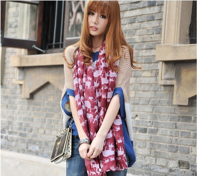 10pcs/lot Viscose New  Scarf Winter For Woman Animal Elephant Print Shawls Fashion Summer Autumn Apparel Accessories Scarves