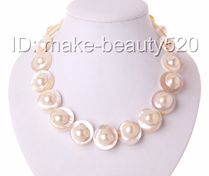 stunning AAAA natural big 22mm white south sea mabe pearl necklace