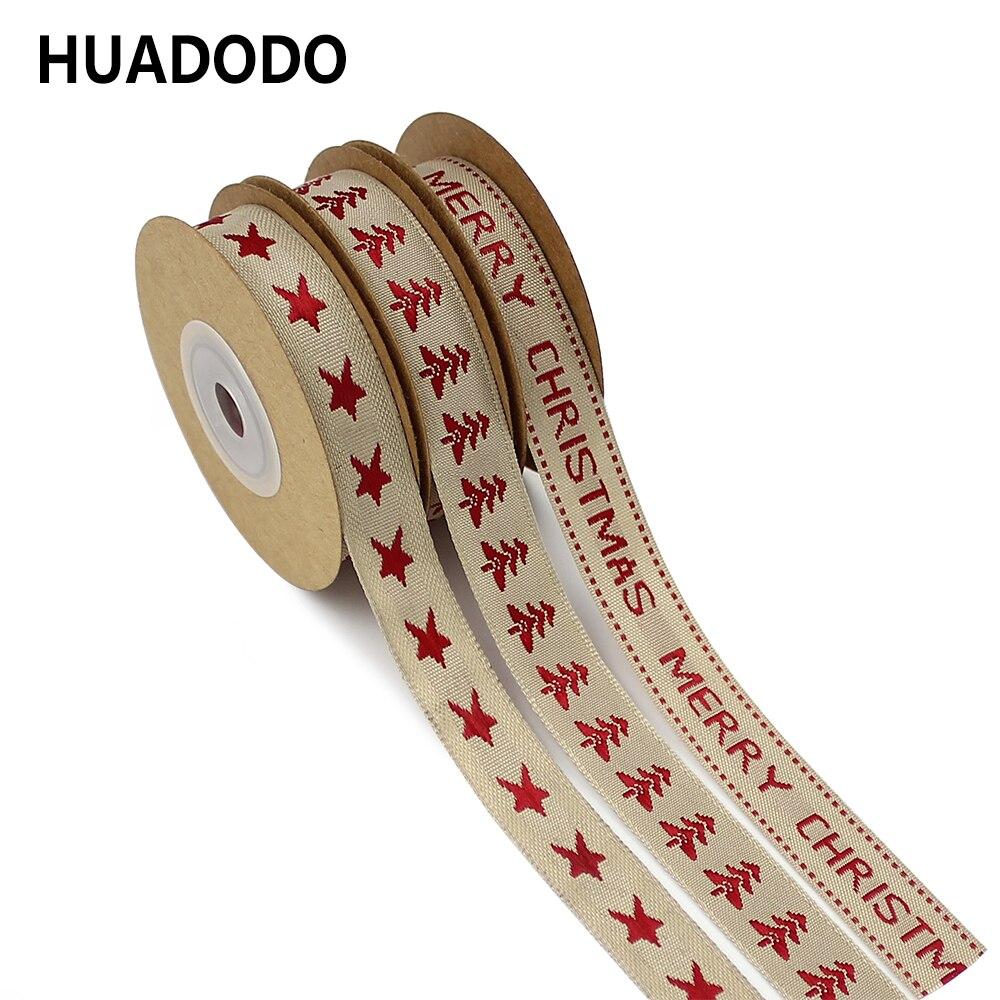 "HUADODO 15 מ""מ חג המולד עץ & כוכב כותנה יוטה סרטי תפירת DIY מתנת גלישת חג המולד סרט קישוט 5 מטרים"
