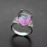 Hermosa joyería princesa pera forma de arco iris Mystic fuego 925 Anillos de Compromiso de plata de ley 7.5 # HR017