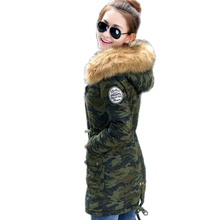 Winter Jacket Women Slim Solid Color Hooded Medium And Long Thickening Cotton Parka Casual Plus Size 4xl Invierno Military Coat