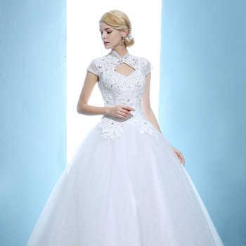 Vintage Wedding Dresses High Neck Princess Wedding Bridal Dress Vestiedo De Casamento Custom Made 407