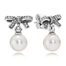 cbe3dd606 S925 Sterling Silver Earring Delicate Sentiments White Pearl & Crystal Stud  Earring For Women Wedding Gift fit Pandora Jewelry