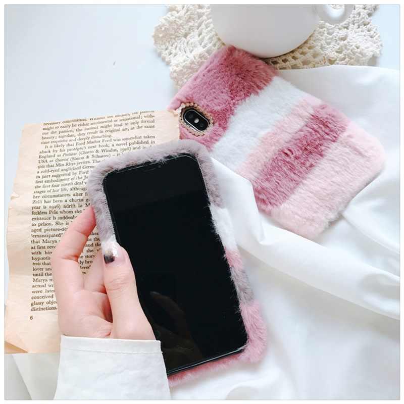 Пушистый Цвет чехол из кроличьего меха для Xiaomi 8 2 1 Lite 5S плюс MAX 2 3 алмаз Мягкий силиконовый чехол для телефона Redmi note 7 6 5 4 3 X A S2