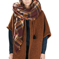 Spain Brand Plaid Scarf Wrap Winter Blanket Square Scarves For Women Casual Oversized Cafe Shawl And Scarves