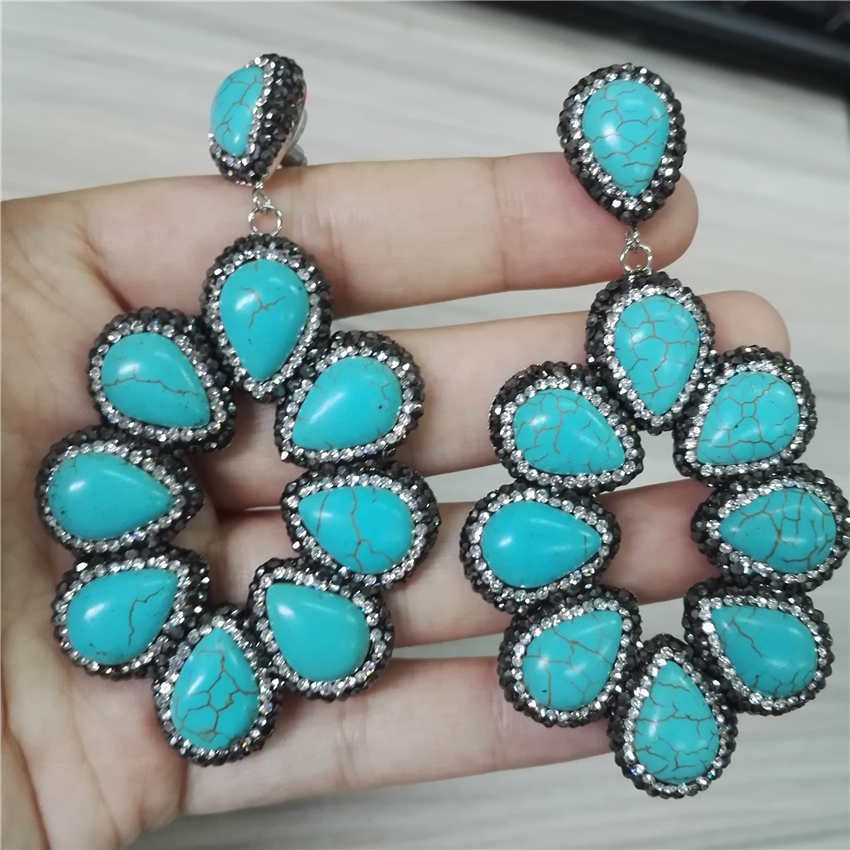 все цены на Handmade Jewelry Water Drop Natural Blue Turquoises Stone Pave Rhinestone XL Big Hyperbole Long Drop Dangle Earrings For Women