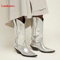 Серебряный Hiver Bottines Femme Швейные дизайнерские кожаные ковбойские клинья Для женщин Сапоги вестерн с квадратным носком слипоны до середины ик