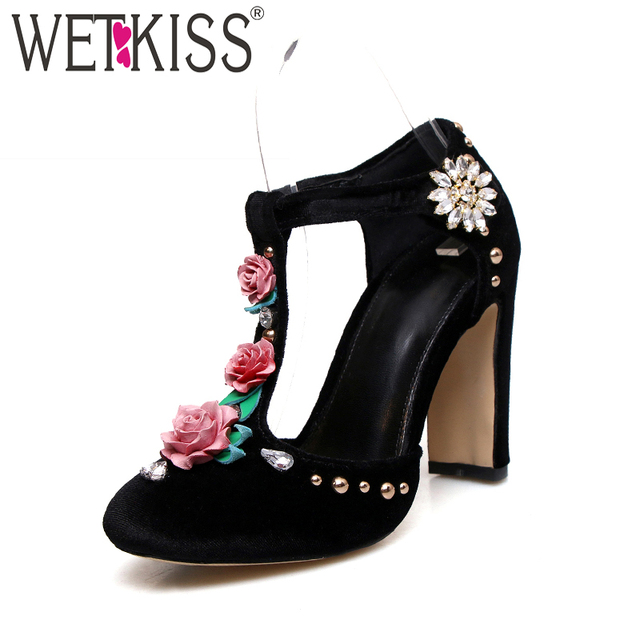 Womens 2018 Summer stereoscopic Floral Ankle Strap Kitten Heel Pointed Toe new