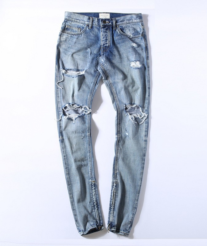 073ac1d209936 Kanye West Justin Bieber Fear Of God Men Jeans Washed Ripped Casual ...