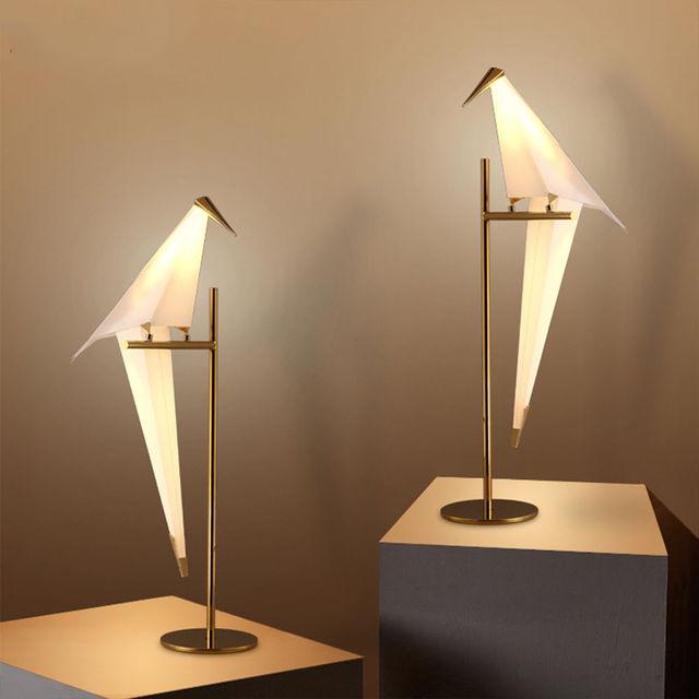 Nordic Modern LED Paper Crane Bird PVC Loft Bedroom Table Desk Floor Lamp Lighting Light Home Bedroom Reading Room Decor New