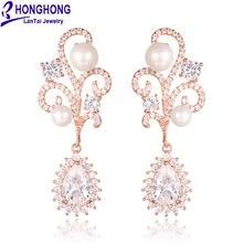 Женские серьги honghong большие с цветами из блестящего циркония