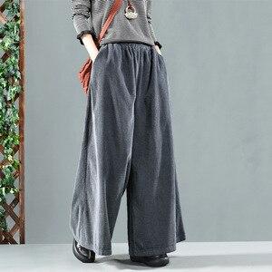 Image 3 - Autumn Winter Pants Retro Loose Women Trousers Elastic Waist pocket Solid color Corduroy Blended Female Casual Pants 2018