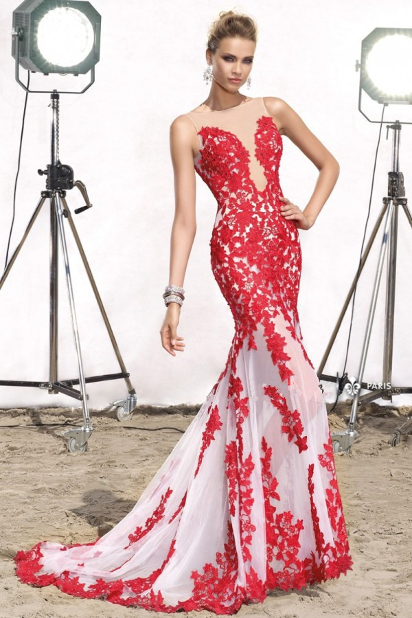 new arrival sexy long red mermaid evening dress 2015 cheap elegant lace apliques formal wedding guest