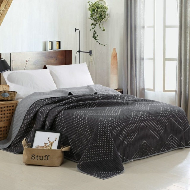 CHAUSUB Europe Simple Cotton Quilt Set 3pcs Solid Embroidered Bedspread  Quilted Bed Cover Sheets KING Size