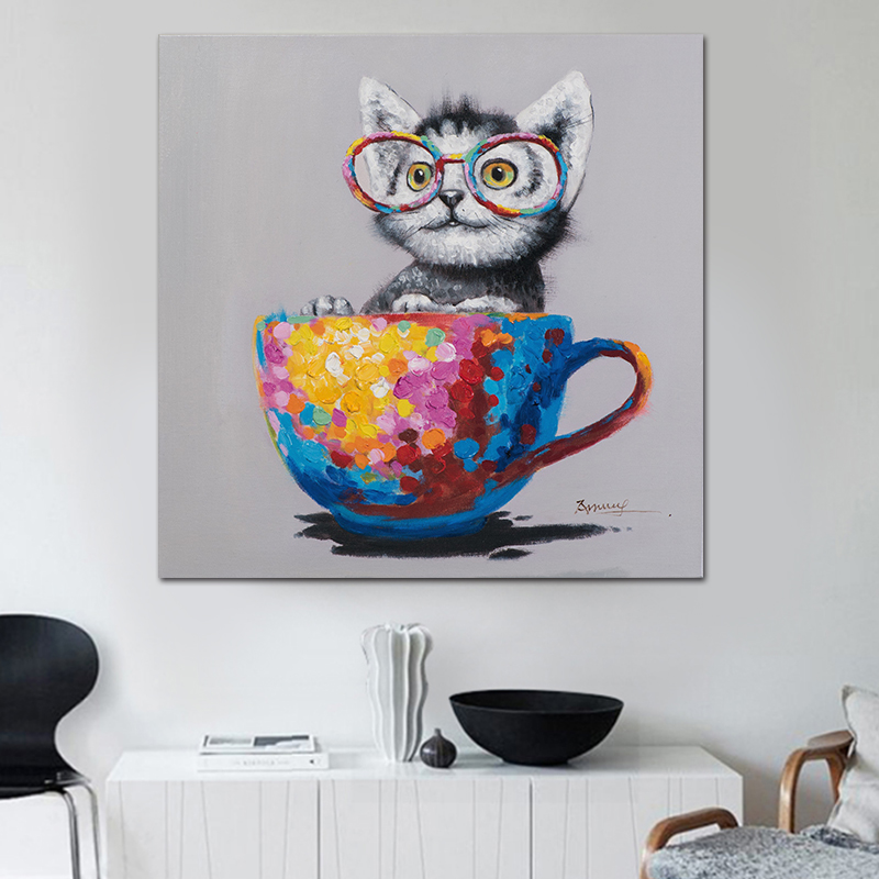 Nordic poster Watercolor Cat Canvas painting animal print childrens room voor woonkamer scandinavian home decor