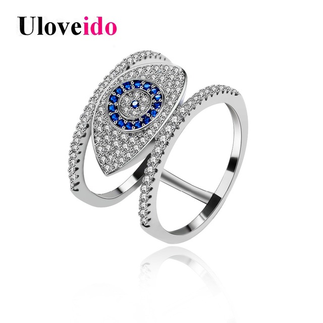 Uloveido Blue Evil Eye Rings for Women Cubic Zirconia Female Ring with an Eye Je