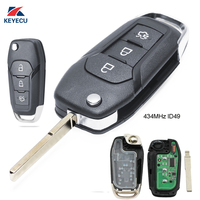 KEYECU Replacement Flip Remote Key Fob 3 Button 433MHz ID49 for Ford Escort / New Mondeo 2014 2017