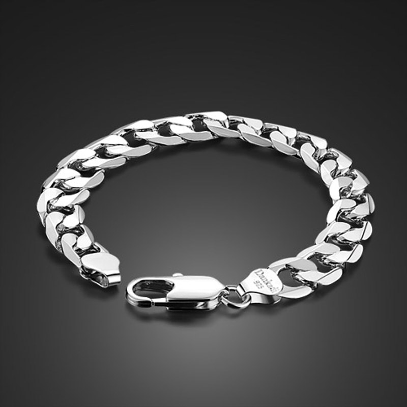 Hot sale!Individual character style men 925 sterling silver wide bracelet Contracted design gentleman 12mm 23cm silver bracelet hot sale geometric rivet design wide faux leather bracelet for men and women