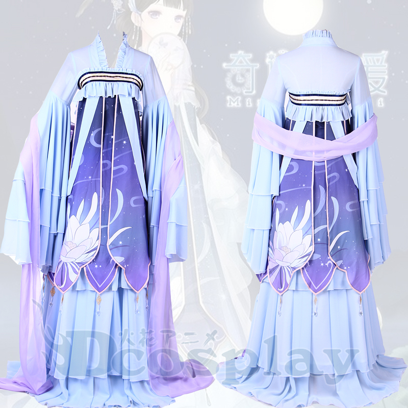 Miracle Nikki lotus Chinese traditional style cos Dress Cosplay Costume Ancient costume for adult
