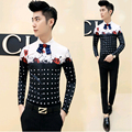 2017 Tuxedo Casual Floral Shirt Korean Men Fashion Shirts Long Sleeve Camisas Hombre Red Slim Fit Mens Polka Dot Dress Shirt